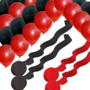 2 Red 2 Black Rolls Streamers and 24 Balloons Decorating Kit