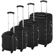 Set de 4 Valises Trolley - ABS - 4 Roues Pivotantes à 360° noir