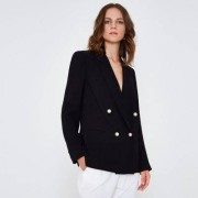 River Island Black faux pearl double breasted blazer