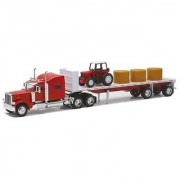 Newray Peterbilt 389 with Hay and Farm Tractor Playset 1/32 Scale Model Toy Vehicles