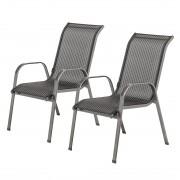 Stapelstoelen Linu (2-delige set) - aluminium/antraciekleurig Textilene/zwart, mooved