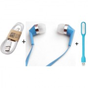 Combo of 3 in 1 USB light Data/Charging Cable iNext earphone (assorted color)