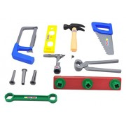 Little Treasures workman's carry along tool box full of assorted tools for kids pretend play with 14 piece deluxe tool series pretend and play playset