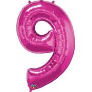 Number 9 Pink Super Shape Number Foil Balloon