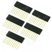 10 broches 2.54mm Female Pin-têtes - Noir (5 pièces)