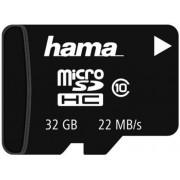 Card de memorie Hama microSDHC, 32GB, Clasa 10, pana la 22 MB/s