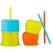 Boon Snug Straw With Cup Blue/Orange/Green