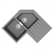 Schock Évier d?angle granit gris Schock LOKTI 2 bacs 1 égouttoir