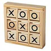 Wooden Tic Tac Toe Game - Fun Travel Games Toys for Kids Children - 2 Player Handheld Brain Challenge Game Outdoor Indoor Brand Perfect Life Ideas