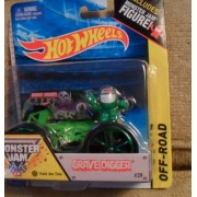 Hot Wheels Monster jam 2014 GRAVE DIGGER includes monster jam figure with green and black wheels ace tires rare by Hot Wheels