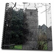 3dRose db_44656_1 Beautiful Old Church in Wales with a Graveyard on The Grounds Done in Black and White and Some Color-Drawing Book 8 by 8-Inch