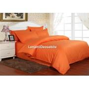 Lenjerie de pat damasc 1 persoana culoarea portocaliu