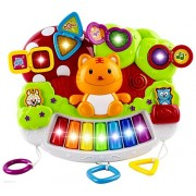 WolVol Baby Piano Activity Center with Beautiful Light Shows and Various Music Tunes, Hanging in the