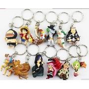 New 12pcs/set One Piece Luffy Chopper Sanji PVC Figure Toy Keychains Pendants 4cm Mini Toys by Panicha