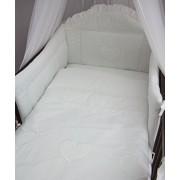 3 piezas ropa de cama de bebé de juego de copas de (cartucho de tinta para ajuste de uno o dos cama y espuma con funda extraíble y espuma con funda extraíble) - diseño de bordado de copos de nieve y corazones blanco Talla:cuna - 140 x 70 cm