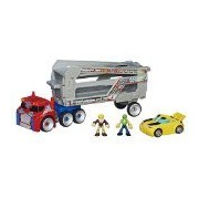 Deluxe Set Transformers Rescue Bots Optimus Prime with Trailer and Bumblebee and 2 human figures