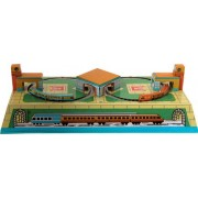 Classic Tin Wind Up Key Russian Train Station Toy (Trains Run Through Tunnels And Service Stations).