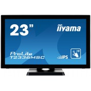 iiyama ProLite T2336MSC-B2 23' LED LCD PCAP Frameless 10P Touch Screen 1920x1080 IPS Flat Bezel Free Glass Front VGA DVI-D HDMI 213cd/m² USB 3.0-Hub (4xOut)