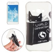 For Samsung Galaxy J1 Ace / J110 Black Cat Words Pattern TPU Protective Case