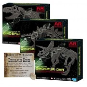 Dig a Dinosaur Excavation DNA Kit AR Wonders T-Rex Stegosaurus and Triceratops Dinosaurs - 3 Pack w Universal Truths Dino Bone