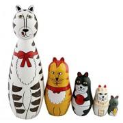 Set Of 5 Cutie Lovely Cat Family Nesting Dolls Matryoshka Madness Russian Doll Popular Handmade Kids Girl Gifts Toy