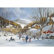 Hockey on Frozen Lake A 1000 Piece Jigsaw Puzzle by Cobble Hill