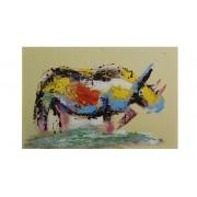 Rino - Tableau rhinoceros multicolore