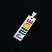 Pingente de Prata 925 Pride + Arco Iris Esmaltado