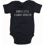 Escáner operador Baby Body suit personalizable recién nacido Babygrow cualquier tamaño para niño o niña negro negro Talla:12-18 meses