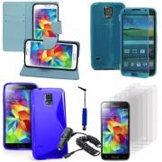 Samsung Galaxy S5 V G900f G900iksmatw Lte G901f/ Duos / S5 Plus/ S5 Neo Sm-G903f/ S5 Lte-A G906s: Lot Coque Etui Housse Pochette Accessoires Silicone Gel Films Stylet Chargeur Voiture Portefeuille Support Video Cuir Pu Effet Tissu - Bleu