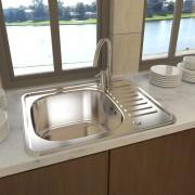 vidaXL Кухненска мивка от неръждаема стомана, правоъгълна, с отточни тръби