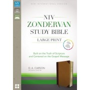 NIV, Zondervan Study Bible, Large Print, Imitation Leather, Brown/Tan, Indexed: Built on the Truth of Scripture and Centered on the Gospel Message