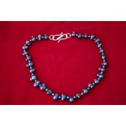 """18""""Peacock Peanut Freshwater Pearl Necklace &925 Silver"""