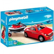Playmobil Red Convertible with Personal Watercraft