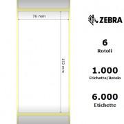 Zebra Z-Perform 1000D - Etichette in carta termica di colore bianco, formato 76 x 152 mm.
