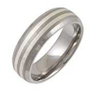 Theia Titanium and Silver Inlay Court Matt 7mm Ring - Size Z