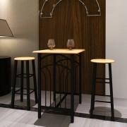 vidaXL Conjunto de mesa alta bar com bancos em madeira metal