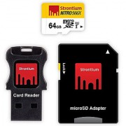 Strontium Nitro 566X 64GB MicroSDXC UHS-1 Memory Card with Adapter and Card Reader