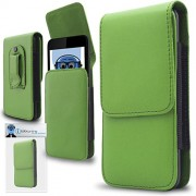 Green PREMIUM PU Leather Vertical Executive Side Pouch Case Cover Holster with Belt Loop Clip and Magnetic Closure for Nokia E63