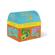Babys First Puzzle -12 Unique 2-pc Baby Animal Puzzles with Storage Container