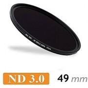 CameraPlus-Professional 49mm Slim S-PRO1 MC Neutral Density ND 3.0 Filter 1000x - 10 Stops + free aluminium filter screw-in caps