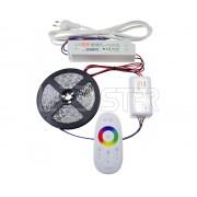 Ledstar kompletná sada 11m farebný RGB LED pásik, SMD5050, 60Ledm 7,2Wm dotykový RF ovládač zdroj Mean Well 12V 100W