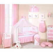 Lenjerie patut 14 piese 120x60 Cute Bird Pink