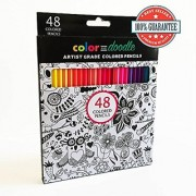 Colored Pencils for Adults and Kids Color and Doodle 48 Watercolor Color Pencils Professional Quality with Soft Lead and Vibrant Colors. Bonus Two Coloring E-Books
