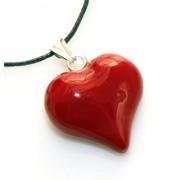 Ciondolo Argento 925 : cuore rosso smalto a mano 2,3 x 2,10 cm