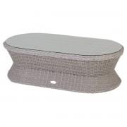 Hespéride Table basse ovale Cocoa Grège Jardin 122 x 62 x 37 cm - Alumium, Résine tressée, Verre Trempé