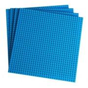 "Premium Sky Blue Stackable Base Plates 4 Pack 10"" X 10"" Baseplate Bundle With 60 Sky Blue Bonus Building Bricks (Lego Compatible) Tower Construction"