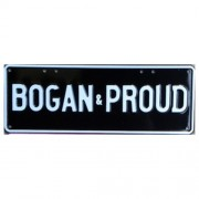 """Novelty Number Plate - Bogan & Proud - White On Black"""