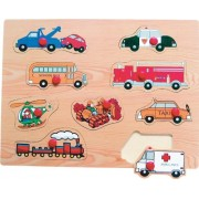 Puzzled Peg Puzzle Large - Transportation 2 Wooden Toys