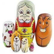 Set of 6 Cutie Lovely Grandma Farm Animals Horse Cow Dog Cat Bird Style Nesting Dolls Matryoshka Madness Russian Doll Po